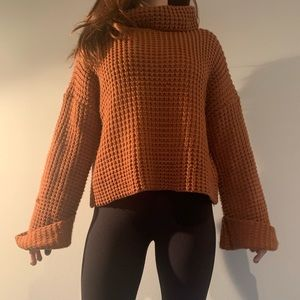 Vintage Copper Cowl Neck Chunky Knit Sweater